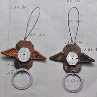 Steampunk earrings with Vintage Watch Faces and Dials