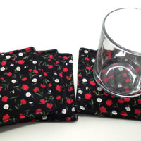 Tossed Flowers, Cotton Coasters, Drink Coasters, Fabric Coasters, Coaster Set,