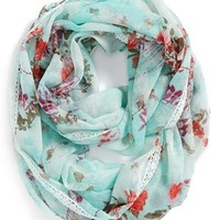 Lulu Lace Trim Floral Infinity Scarf (Juniors)