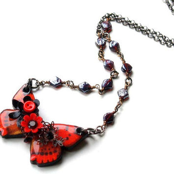 Tiny poppy red and black butterfly necklace/Wooden butterfly necklace/Decoupaged butterfly/Butterfly pendant/Wood jewelry