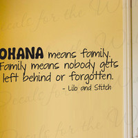 Lilo and Stitch Ohana Family Disney Vinyl Wall Decal Lettering Art Decor Quote Sticker Decoration B85
