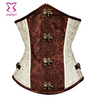 Corzzet Beige Steel Boned Steampunk Underbust Corsets And Bustiers Waist Slimming Plus Size Sexy Gothic Corpetes