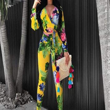 Yellow Floral Print Cut Out Two Piece Lace-up Deep V-neck Club Long Jumpsuit