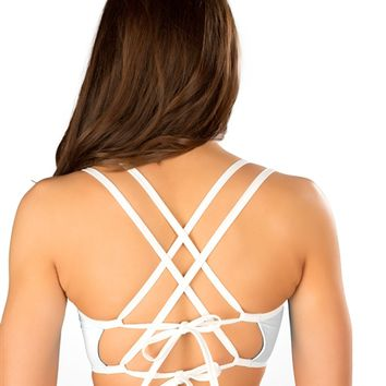 J. Valentine White String Top : Party and Rave Crop Tops