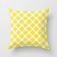 circles yellow pattern Throw Pillow by Jcks