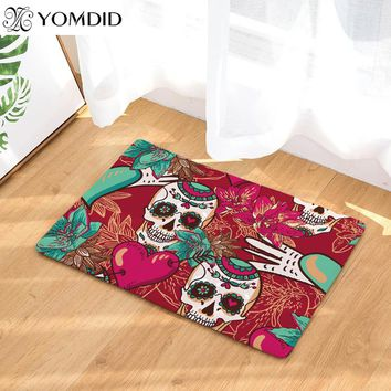 Color skull head mats digital print doormat carpet for bedroom living room kitchen rugs anti-skid skull flower mats