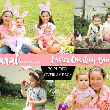 EASTER OVERLAYS, 70 Photoshop Overlays, Photoshop Overlay, Easter, animal overlays, Confetti overlays, glitter overlays, butterflies
