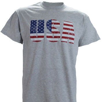 USA Flag Letters on a Sports Grey T Shirt