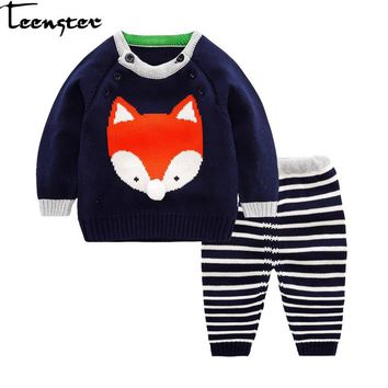 Baby Girl Winter Clothes Knitted 2018 Autumn Boy Sweater Long Sleeve Newborn Jacquard weave Knit Cartoon Fox Infant Embroidery