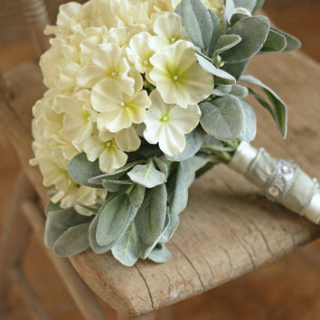 French Country Rustic Chic Ivory and Sage Hydrangea Real Touch Wedding Bouquet