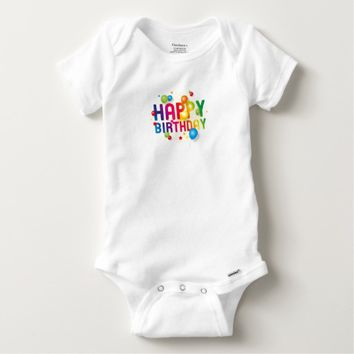 Happy Birthday Balloons Rainbow Baby Onesuit