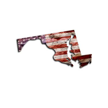 Maryland Distressed Tattered Subdued USA American Flag Vinyl Sticker