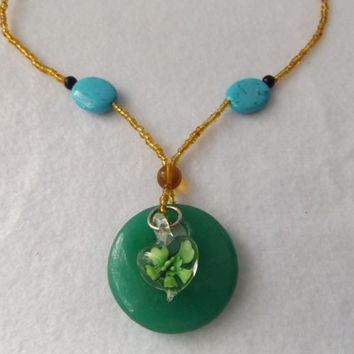 Jade and Turquoise with Amber Seed Bead Pendant Necklace With Lampwork Glass Heart Charm, Green and Amber Necklace