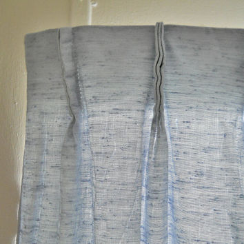 Blue Curtain Panel Mid Century Curtains Pinch Pleat Drapes Pleated Curtains Boys Room Curtains Baby Boy Nursery Curtains 60s Curtains Window