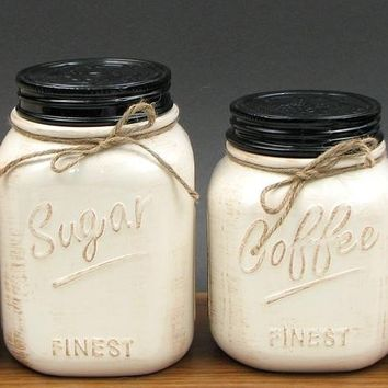 Vintage White  Ceramic 4-pc Canister  Set