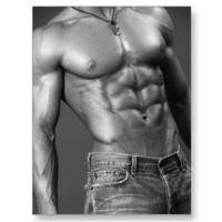 Shirtless Male In Jeans Postcard from Zazzle.com