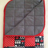 Modern baby quilt~ baby blanket~ crib quilt~ red~ grey~ gray~ mushrooms~ rabbits~ stars and spots~ baby shower gift~ cot blanket~ cot quilt
