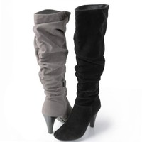 Brinley Co Womens Slouchy High Heel Boots