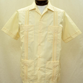 D'Accord Men's Short Sleeve Ecru Guayabera Shirt