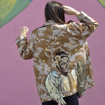 Vintage Angel FridaK Hand Painted Denim Jacket.