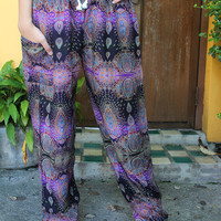 Hippie Pants Boho Clothing Peacock Design Purple unisex