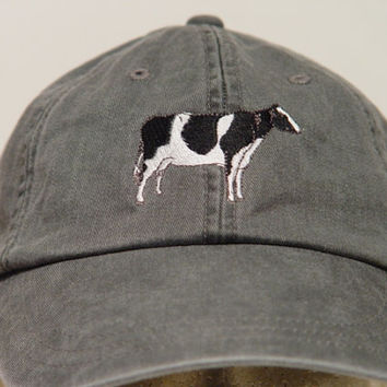 HOLSTEIN COW Farm Hat - One Embroidered Men Women Cap - Price Embroidery Apparel - 24 Color Caps Available