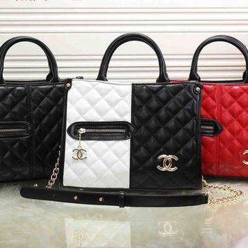 LMFON Chanel' Personality Fashion Multicolor Quilted Zip Metal Chain Single Shoulder Messenger Bag Women Handbag