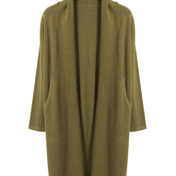 Open Front Long Sleeves Cardigan With Pockets