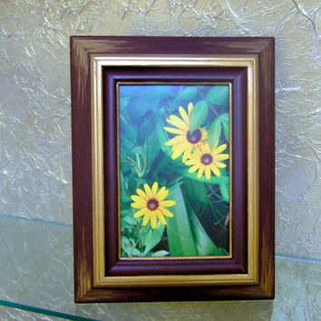 Modern Vintage-Look 4 x 6 Wooden Picture Frame,  Hand Painted, Trimmed and Brushed With Metallic Gold, Easel or Wall Hanging, Home Decor