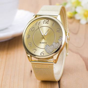 New Love Heart Crystal Lovers' Gold Watch for Men