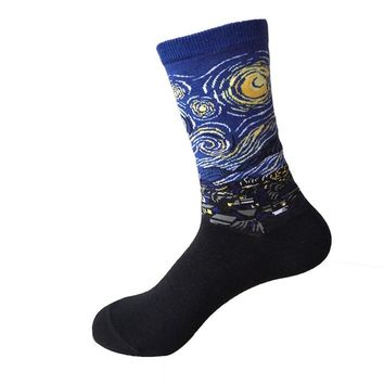 Combed Cotton Colorful Van Gogh Retro Oil Painting Men Socks cool casual Dress Funny party dress crew Socks 1pair=2pcs  ms01