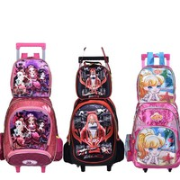 new Children Kids school bags With Wheel Trolley Luggage set backpack Mochila Infantil Bolsas for boys and girls