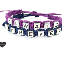Always Forever Bracelets for Couples Purple Dark Blue Set of 2