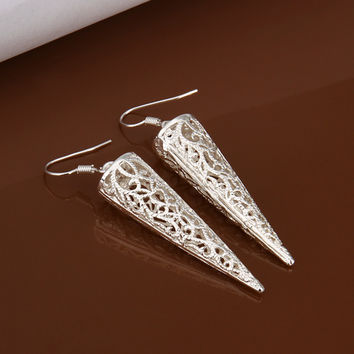 Tapered Hollow woven silver earring
