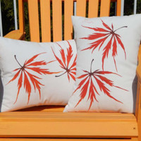"""Outdoor pillow Japanese Maple ships tomorrow 20"""" (50cm) square autumn leaf leaves lace leaf tree painted Crabby Chris Original"""