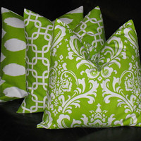 """Lime Green Pillows Decorative Pillows TRIO damask, chain link, ikat 20 x 20 inches Throw Pillow Covers chartreuse, white 20"""""""