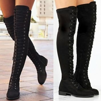 Gothic, Punk Above the Knee Lace Up Suede Boots