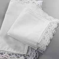 10pcs Personalized white lace handkerchief, woman wedding gifts, wedding decoration cloth napkins 25*25cm