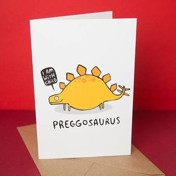 With A Child Preggosaurus Funny New Baby Congratulations Card Pregnancy Card Baby Shower Card FREE SHIPPING