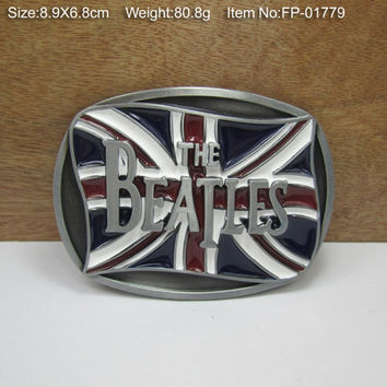 UK Flag BEATLES Cowboy Metal Belt Buckle Texas Fashion Mens Western Badge Feathers Native Avengers