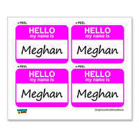 Meghan Hello My Name Is - Sheet of 4 Stickers