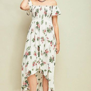 Make It Special White Floral Print Off The Shoulder Dress