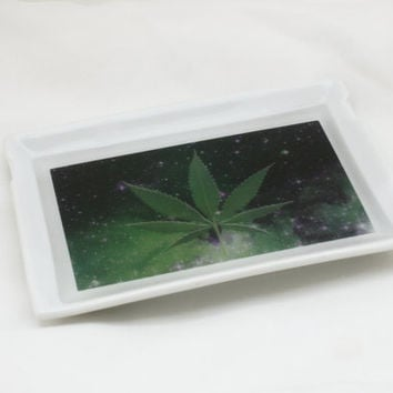 Glazed Ceramic Rolling Tray, Custom Graphic - Tobacco Marijuana Cannabis Weed Bud Blunt Joint Cigarette Pot Leaf in Outer Space Galaxy Stars