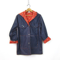 Navy Blue Raincoat Vintage Vinyl rain coat Red White Anchor Print Lining rain slicker jacket Spring Coat with Hood Women's Size Medium