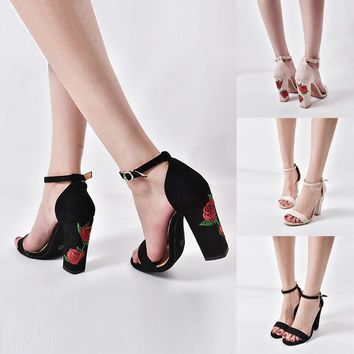 Suede Rose Embroidery With Crude High-heel shoes Sandals