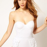 ASOS Laser-cut Peplum Cupped Swimsuit at asos.com