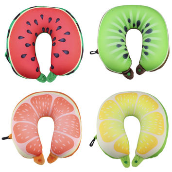 Fruit U Shaped Pillow Cushion Nanoparticles Neck Pillow Car Travel Pillow