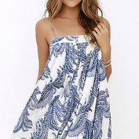Young, Fabulous & Broke Solange Blue Print Dress