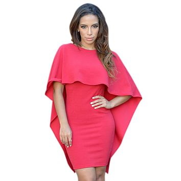 Red Winging Angle Cape Style Backless Mini Dress