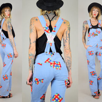 Plaid PATCHWORK 70's OVERALLS Open back FLARED Novelty Washington-Dee Cee Bell Bottom Rare xs